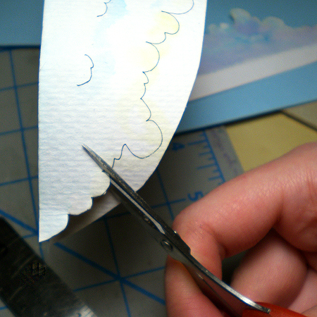 Cutting out clouds on a pegasus diorama by Ruth Bleakley