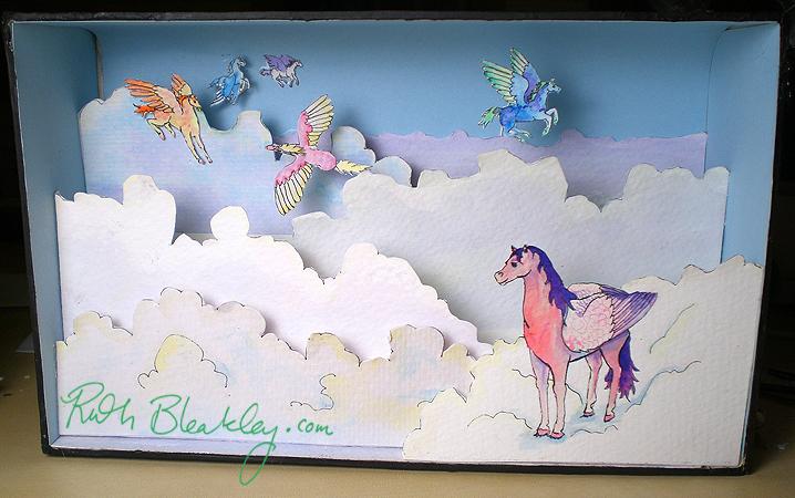 Pegasus papercut diorama shadowbox by Ruth Bleakle