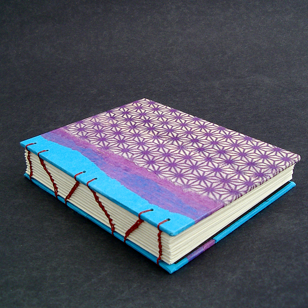 Here's the front cover decorated with Indian handmade paper(blue) thin mullberry paper (purple) and Japanese Kozo paper (patterned) | Mellow Mood Journal handmade by Ruth Bleakley