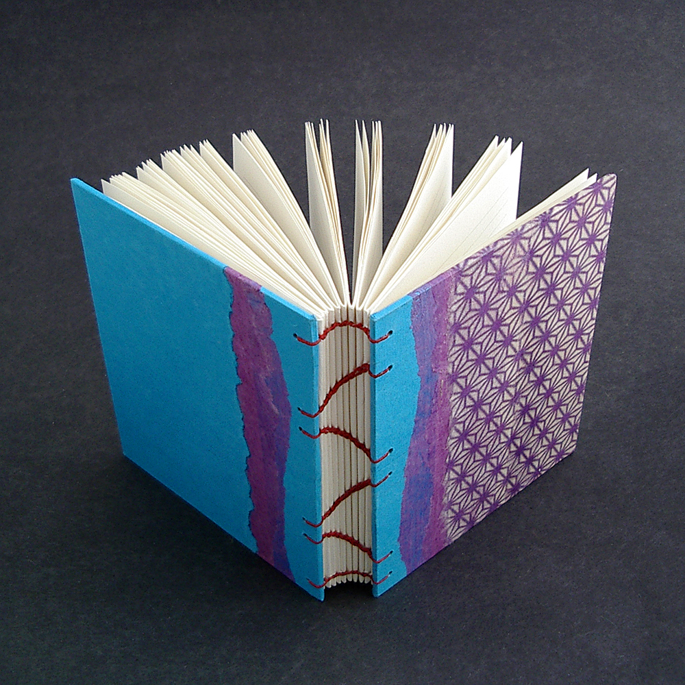 the spine arcs nicely on a book sewn with a coptic stitch | Mellow Mood Journal handmade by Ruth Bleakley