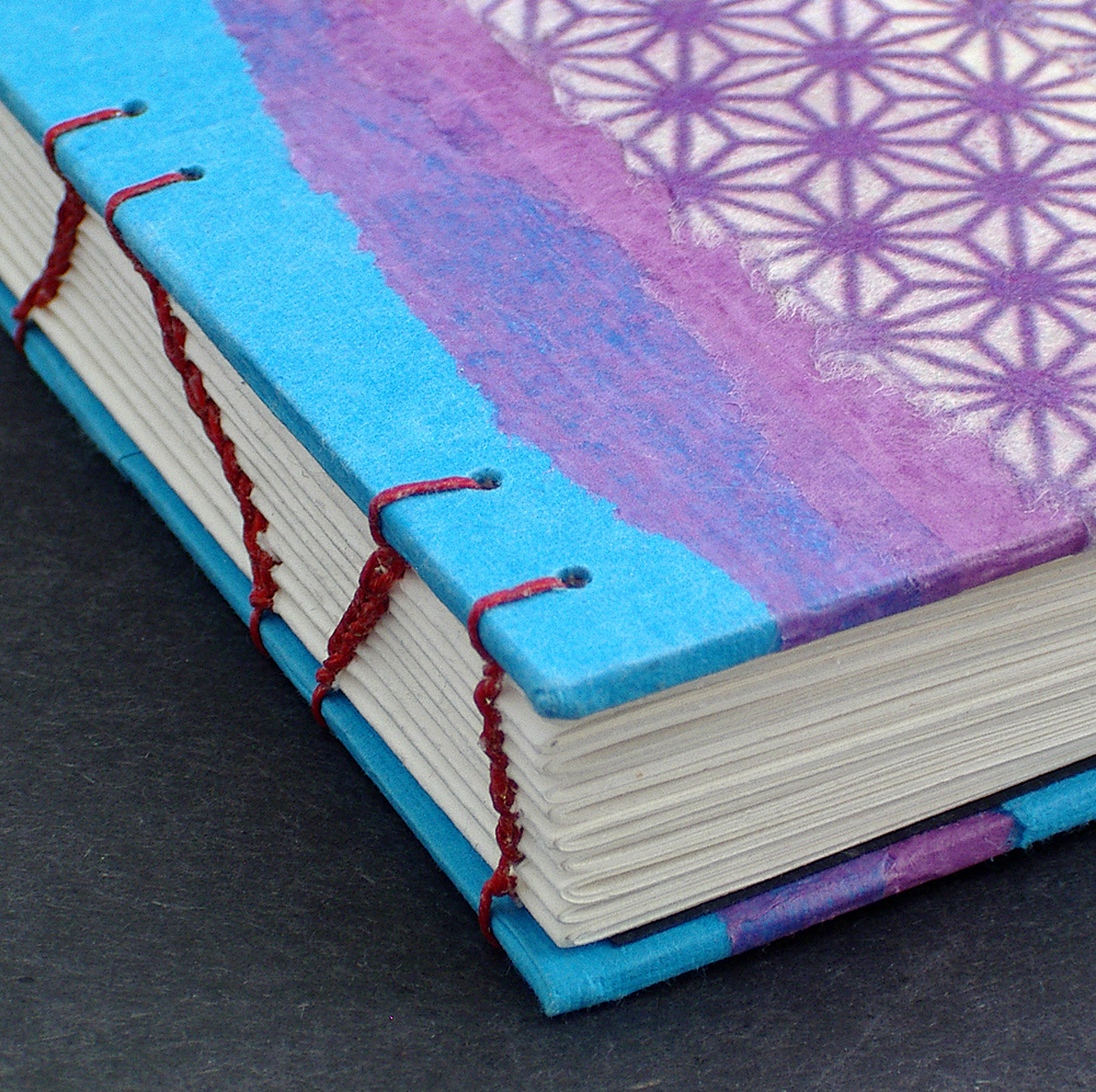 Here's a closeup of the spine; you can see how nicely the stitches lock together on a Coptic bound journal. | Mellow Mood Journal handmade by Ruth Bleakley