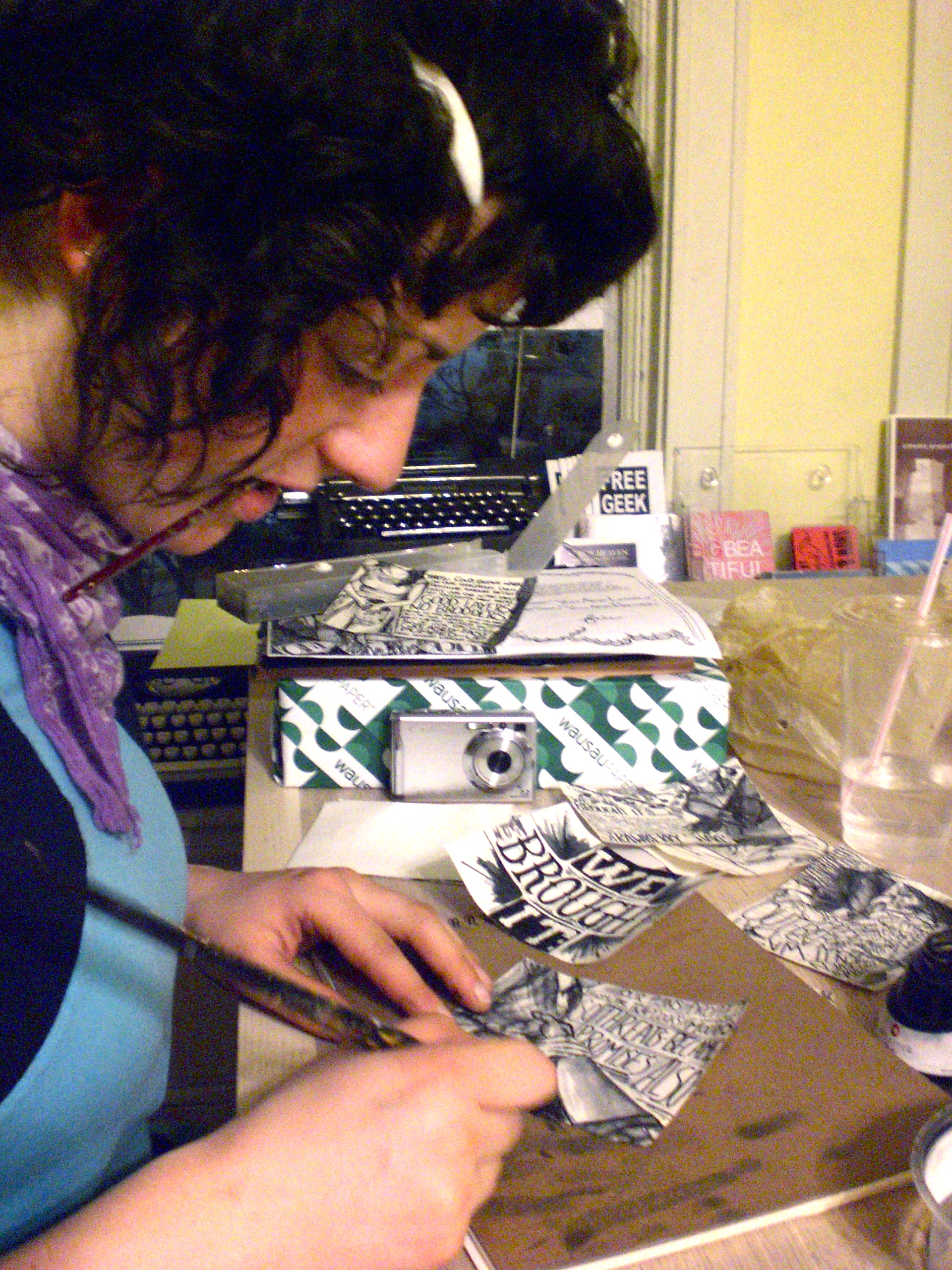 Rachel making a zine at the IPRC 2009