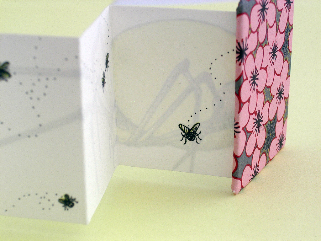 Spider Miniature Accordion Book made by Ruth Bleakley and Christina Lafontaine | On the back are some clueless flies that I drew