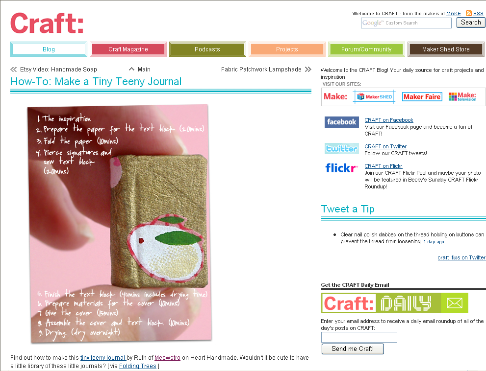 Craft Magazine Blog feature of miniature book instructions by Ruth Bleakley