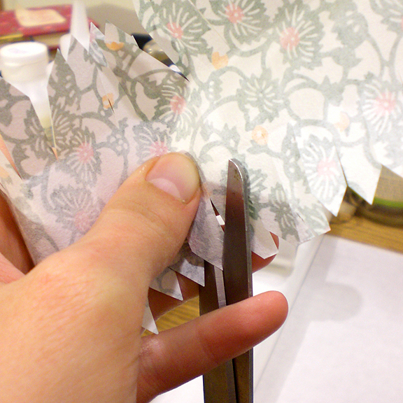 Washi Paper Decoupage Egg Directions - Trimming the Paper