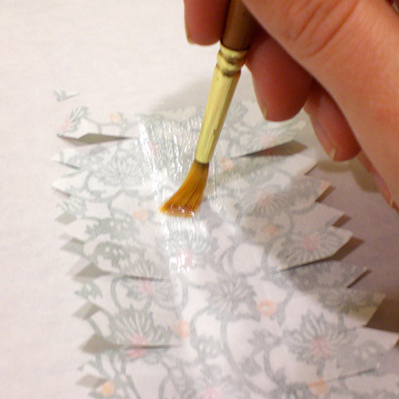Washi Paper Decoupage Easter Egg Directions - Applying paste to the paper