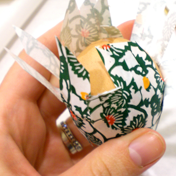 Washi Paper Decoupage Easter Egg Directions - applying paper strips