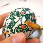 Washi Paper Decoupage Easter Egg Directions - apply clear acrylic glaze