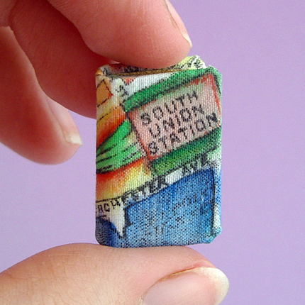 Miniature Book of Boston South Station made by bookbinder Ruth Bleakley