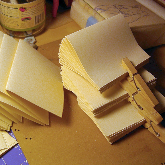 Little Leather Book bookbinding process photos by Ruth Bleakley