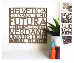 Sans Serif Typography Wood Wall Art