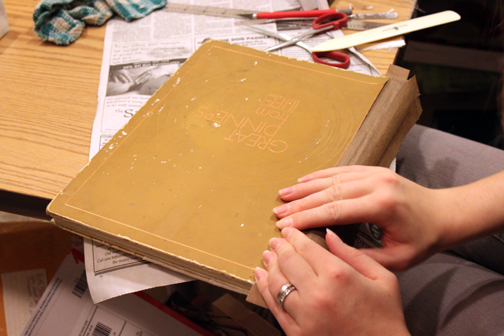 Step by Step photos of a Cookbook Repair by Ruth Bleakley -  adding brand new spine to the book