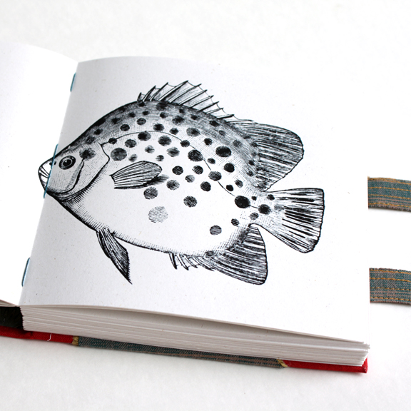 Matt's Travel Journal handmade by Ruth Bleakley - The book has all kinds of secret pictures like this fish hidden within the pages