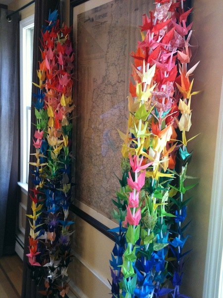 Cranes in strings ready for hanging