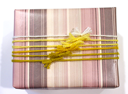 yarn wrapped gift