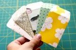 Little paper envelopes made from assorted papers