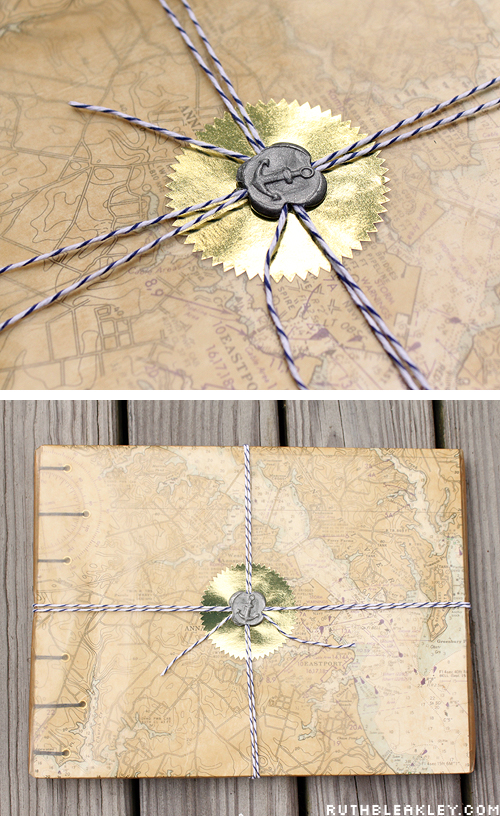 Nautical Gift wrap idea with bakers twine and a wax seal with an an anchor over natural waxed paper
