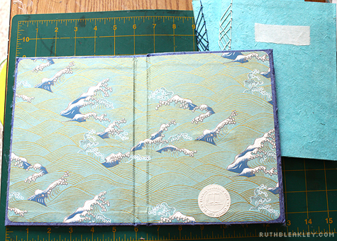 Case for journals is lined with handmade Japanese waves paper - Travel Journal with Case by Ruth Bleakley