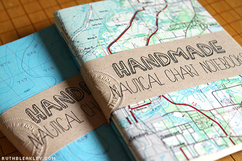 Handmade Nautical Chart Notebooks by Ruth Bleakley