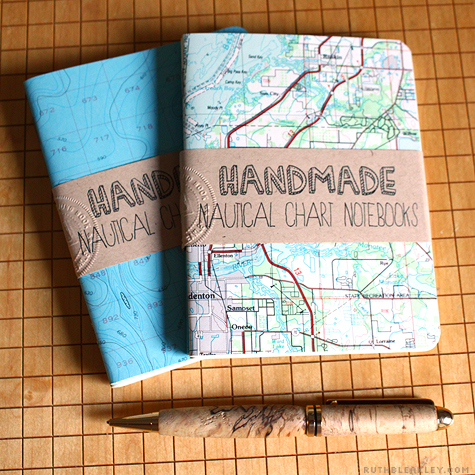 Notebooks made from nautical charts by Ruth Bleakley