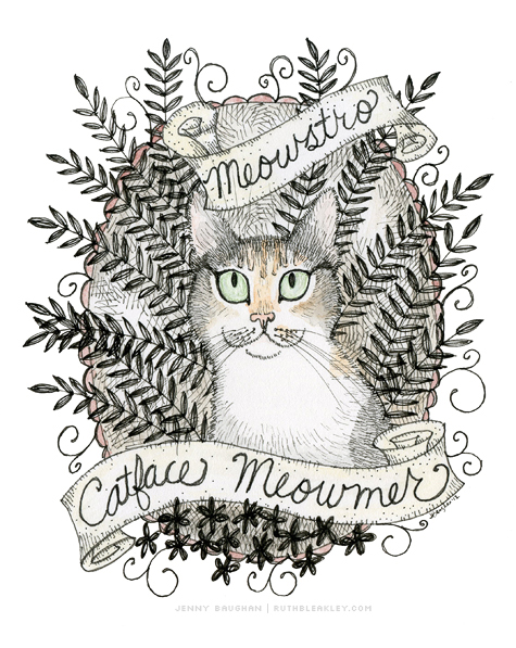 Custom Meowstro Portrait by Jenny Baughan