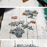 Cutting out paper lichens - Rock Wall Accordion Book Part 2 by Ruth Bleakley