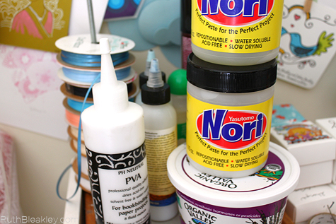 bookbinding adhesives - nori paste and PVA