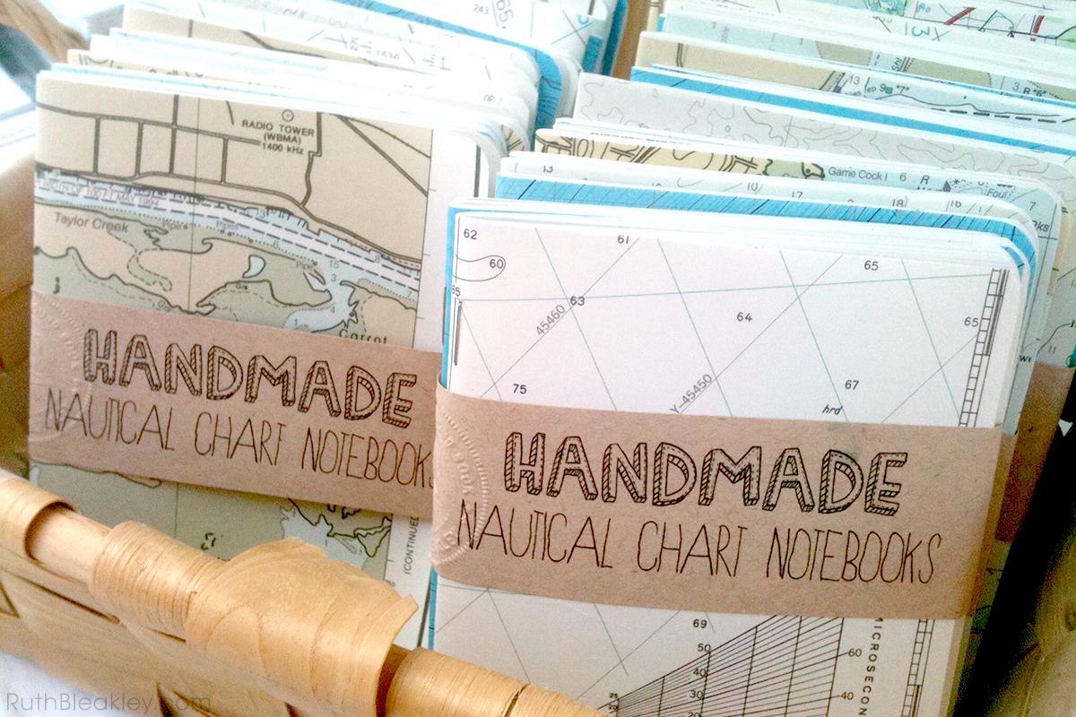 nautical chart notebooks handmade by Ruth Bleakley