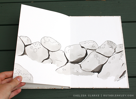 rock wall illustration in a handmade accordion book by Ruth Bleakley and Chelsea Clarke