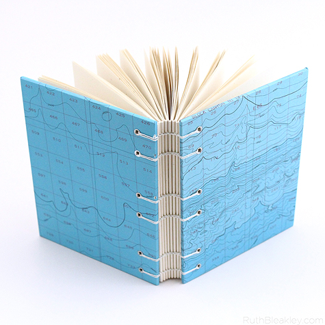 Blue Bathymetric Chart journal handmade by Ruth Bleakley