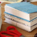 Coptic stitch books ready to be sewn by Ruth Bleakley