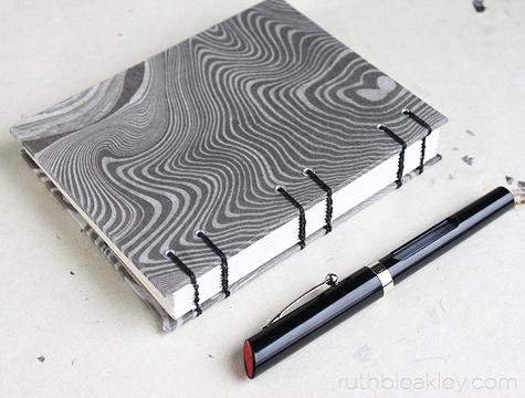 Suminagashi black and whtie Journal handmade by Ruth Bleakley
