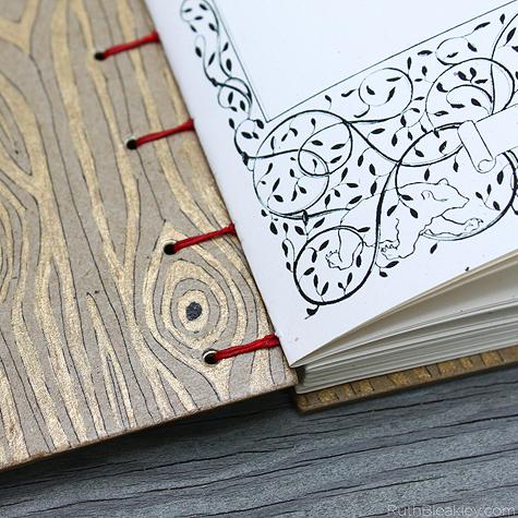 hand drawn woodgrain detail on handmade journal by Ruth Bleakley