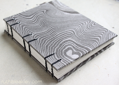 marbled black and white book handmade by Ruth Bleakley