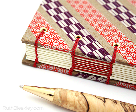 red and purple washi tape book handmade by Ruth Bleakley