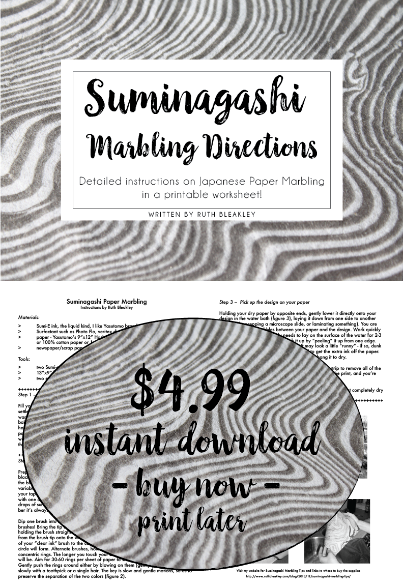 Suminagashi marbling directions from Ruth Bleakley printable download worksheet instructions