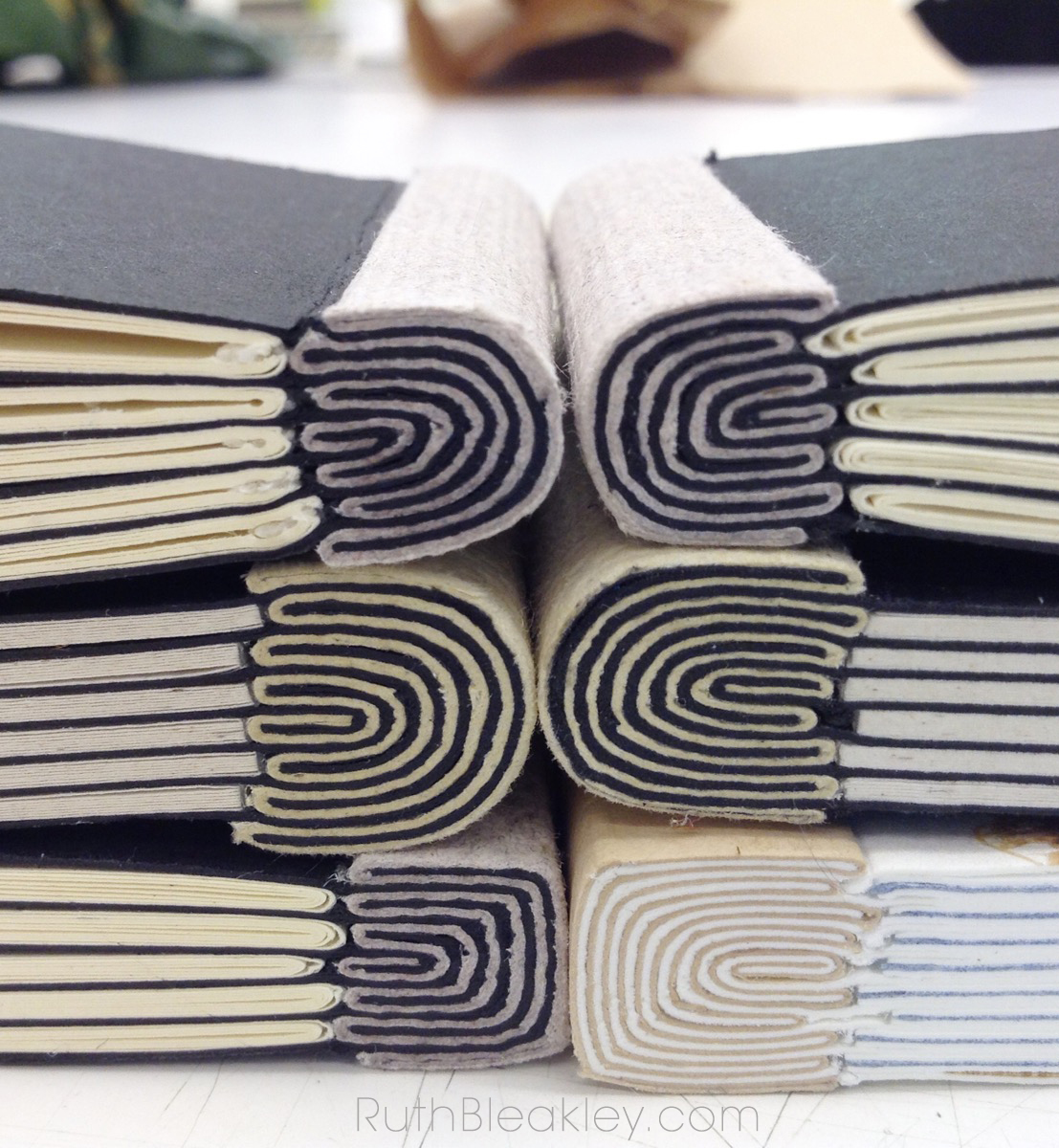 Elbel's Onionskin bookbinding workshop at Penland School of Crafts 2014 - books made by Ruth Bleakley