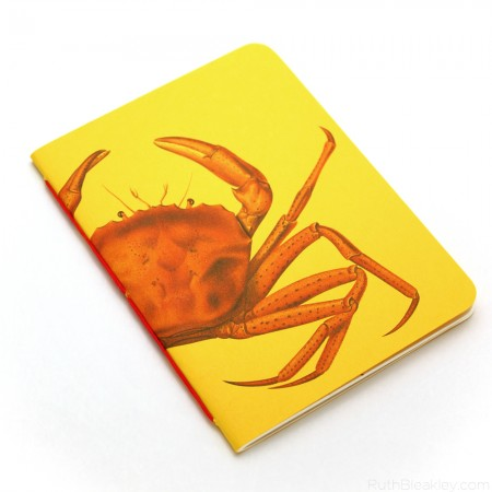 Red Crab Notebook handmade by Ruth Bleakley