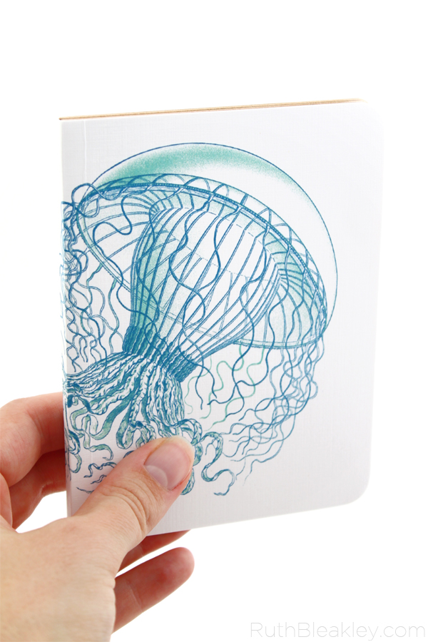 Jellyfish handmade notebook by Ruth Bleakley