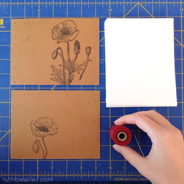 The makings of a coptic stitch sketchbook by Ruth Bleakley