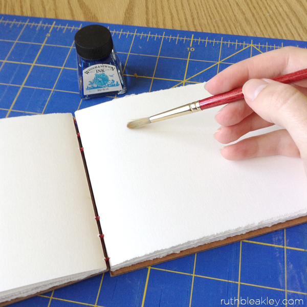 artist journal filled with watercolor paper that lays flat when open handmade by Ruth Bleakley