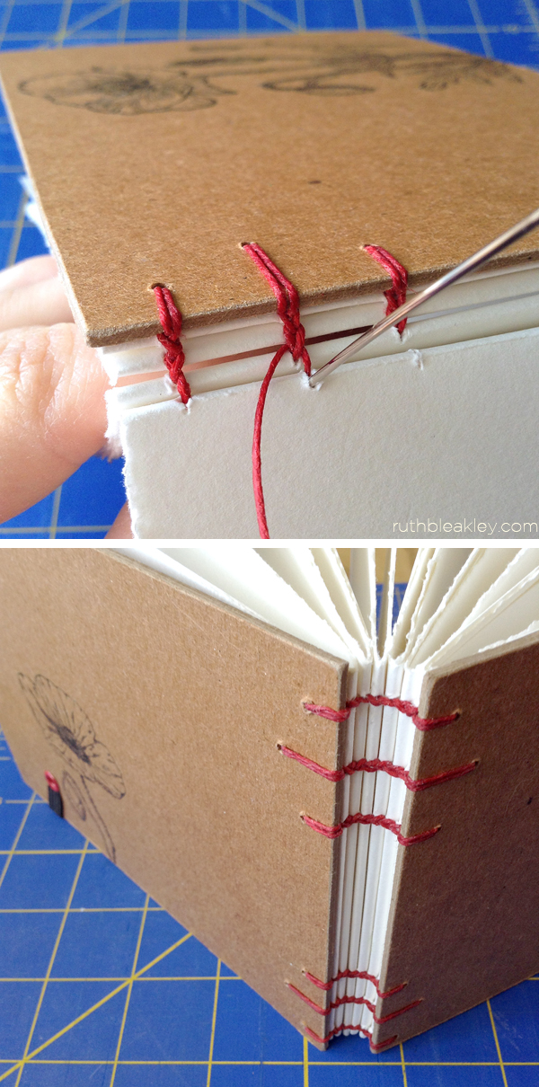 stitching a handmade artist journal so that it lays flat by Ruth Bleakley