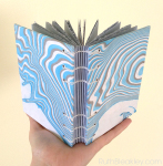 Handmade Journal Coptic Bound with Black and Blue Suminagashi Covers by Ruth Bleakley