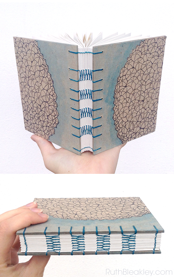 Handmade Journal coptic stitch variation with french link stitch bookbinding by Ruth Bleakley