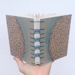 french link bookbinding stitch on journal handmade by Ruth Bleakley