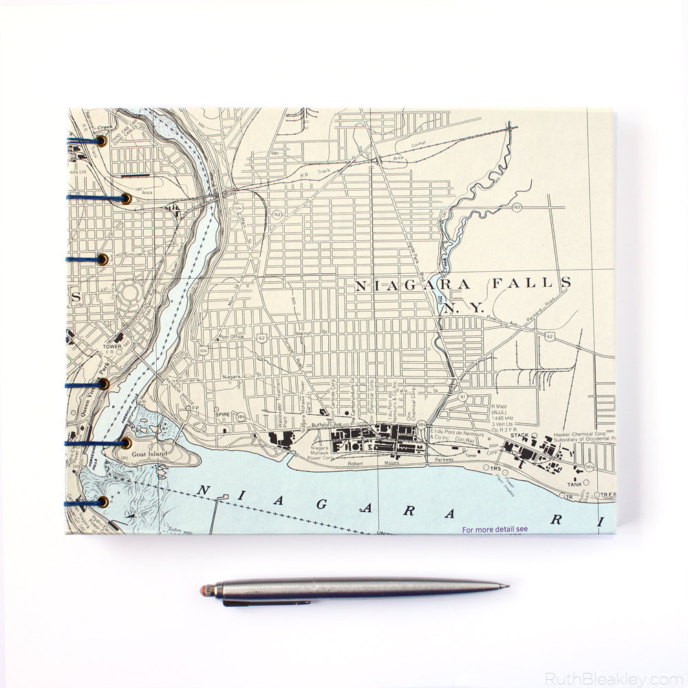 Niagara Falls nautical chart guestbook - front cover handmade by bookbinder Ruth Bleakley