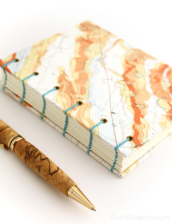Topographic Map Journal of Oregon handbound by book artist Ruth Bleakley