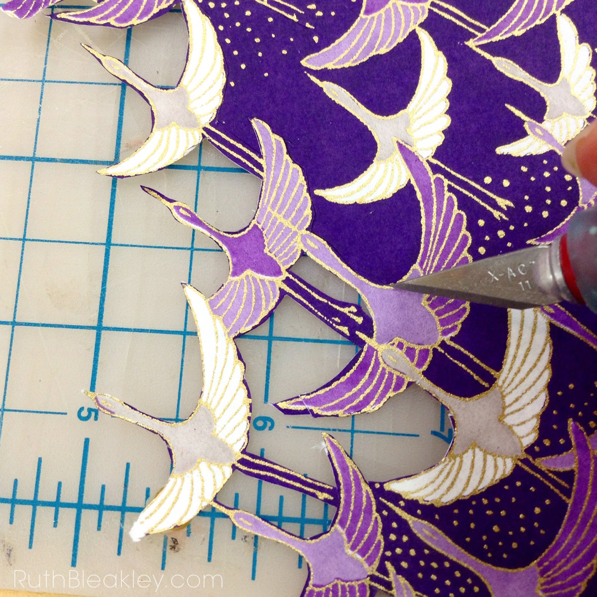 chiyogami bird collage detail for a bookbinding project by Ruth Bleakley
