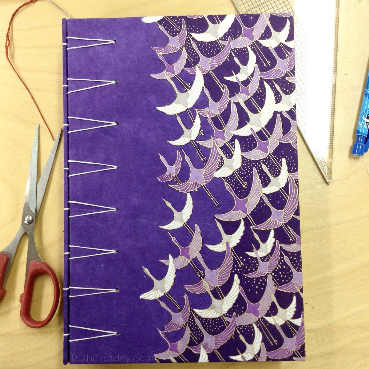 Finished secret Belgian binding journal made by Ruth Bleakley at a workshop at Asheville Bookworks