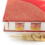 Red Leaf French Link Journal handmade by bookbinder Ruth Bleakley - 2